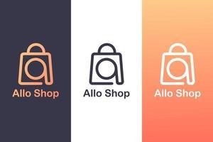 combinando a letra a um logotipo com uma sacola de compras, o conceito de um logotipo de compra. vetor