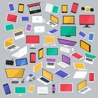 conjunto de laptops, tablets e telefones celulares vetor