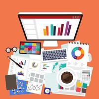 espaço de trabalho com análise de dados de negócios em computador e papéis vetor