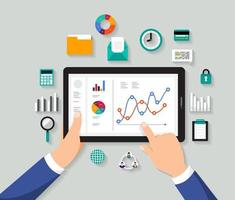 análise de dados de negócios no tablet vetor