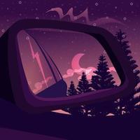 reflexo do espelho de vista lateral de uma floresta escura sob o céu noturno. paisagem de fantasia com um pôr do sol gradiente e silhuetas de árvores vistas de dentro do carro. vetor