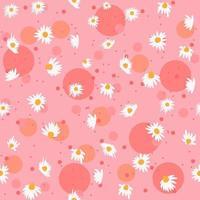 padrão sem emenda de primavera com flores de camomila e bolhas cor de rosa. fundo feminino e floral repetitivo com flores brancas. papel de embrulho à base de ervas. vetor