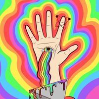 arte vetorial de uma mão com o olho de Deus e um arco-íris. ilustração psicodélica e oculta sobre espiritualidade e quiromancia. vetor