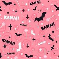 fundo gótico pastel com morcegos, pirulitos, cruzes e estrelas. sem costura kawaii rosa padrão com elementos assustadores de halloween e rabiscos assustadores. vetor