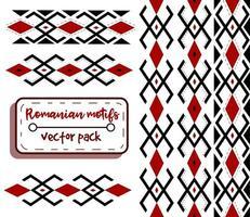 motivos tradicionais romenos em vermelho e preto. arte conceitual de bordados e bordados da moda moldávia e do leste europeu. padrão sem emenda com formas étnicas e folclóricas. vetor
