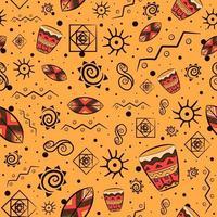 padrão sem emenda tradicional africano com motivos nacionais maias e astecas. fundo repetitivo com elementos boêmios e tons de terra. vetor