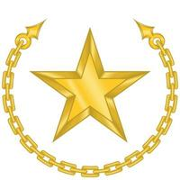 desenho vetorial de uma estrela rodeada por uma corrente na cor dourada. vetor