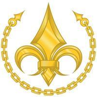 desenho vetorial de flor de liz em estilo metálico cercado por uma corrente dourada vetor