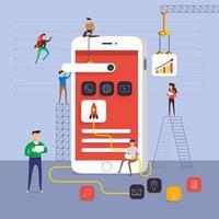 equipe construindo um aplicativo para celular vetor
