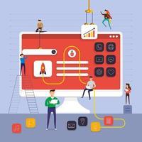 equipe de desenvolvedores trabalhando no aplicativo vetor
