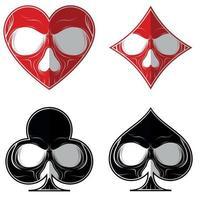 desenho vetorial, crânio com os quatro símbolos de pôquer, coração, diamante, ás, trevo, tudo sobre fundo branco. vetor