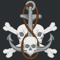 desenho de caveira e âncora com corda e ossos vetor