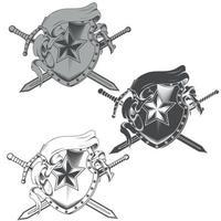 desenho vetorial de brasão com fita em tons de cinza vetor
