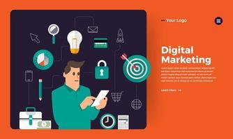 maquete da página de destino do site de marketing digital vetor