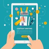 usando um tablet para aprender sobre a escrita de conteúdo vetor