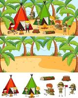 conjunto de diferentes cenas horizontais de fundo com o personagem de desenho animado doodle de crianças vetor