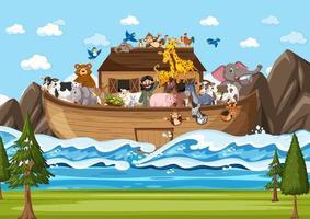 arca de noé flutuando com muitos animais na cena do oceano vetor
