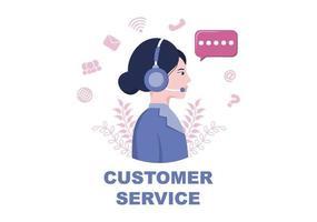 entre em contato conosco atendimento ao cliente para atendimento de assistente pessoal, consultor pessoal e rede de mídia social. ilustração vetorial vetor