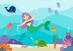 ilustração vetorial de sereia subaquática personagens de desenhos animados de animais marinhos fofos, juntamente com peixes, tartarugas, polvos, cavalos-marinhos, craque vetor