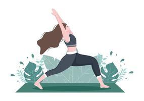 as práticas de ioga ou meditação visam a benefícios para a saúde do corpo para controlar pensamentos, emoções, início e busca de idéias. ilustração em vetor design plano