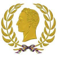 desenho vetorial, simon bolivar libertador de venezuela, com coroa de oliveira dourada amarrada com fita. vetor