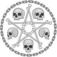 desenho de caveira de estrela de osso com correntes vetor