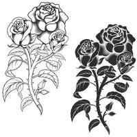 desenho vetorial de um buquê de flores, em tons de cinza vetor