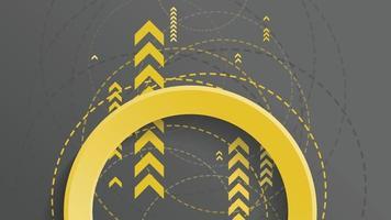 fundo geométrico abstrato com círculo amarelo e seta amarela em fundo escuro vetor