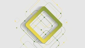 fundo geométrico abstrato com quadrados verdes e amarelos sobre fundo branco vetor