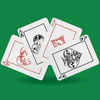 Mão de pôquer, coração, diamante, trevo e símbolos de ás com diferentes designs de caveira vetor