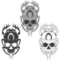 silhueta de besouro assustador com crânio, ilustração de besouro em forma de morte, silhueta em preto e branco vetor
