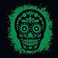 morte sagrada, dia dos mortos, caveira mexicana de açúcar, camisetas grunge vintage design vetor