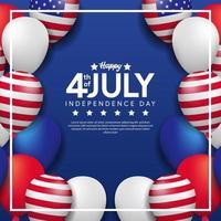 4 de julho, dia da independência americana com modelo de pôster de festa em balão 3d vetor