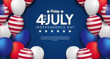 4 de julho, dia da independência americana com modelo de cartaz de festa em balão 3d vetor