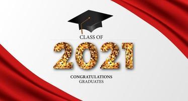 Graduação da turma de 2021 com ilustração 3D do boné de graduação vetor