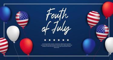 quarto de julho, dia da independência americana, 4 de julho dos EUA com modelo de banner de pôster de festa em balão 3d vetor