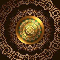 dourado luxo elegante mandala círculo redondo decoração padrão vetor