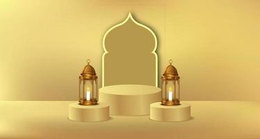 evento islâmico do ramadã com lanterna dourada e modelo de exibição de produto em pódio de cilindro vetor