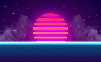 Pôr do sol dos anos 80 retro vintage neon cor de fundo vetor