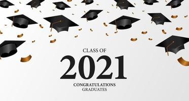 turma de 2021 festa de formatura, outono, graduação cap vetor