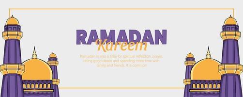 banner ramadan kareem com ornamento de ilustração islâmica desenhada à mão