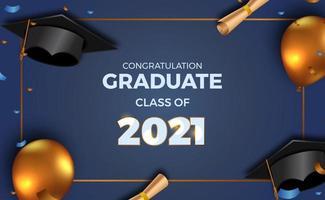 convite de cartaz de festa de formatura de luxo para turma de 2021 com balão dourado 3d e boné de formatura, chapéu e papel com confete vetor