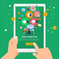 usando um tablet para aprender sobre a análise de dados vetor