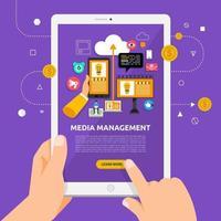 usando um tablet para aprender sobre gerenciamento de mídia vetor
