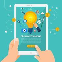 usando um tablet para aprender sobre o pensamento criativo vetor