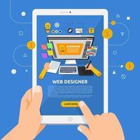 usando um tablet para aprender sobre web design vetor