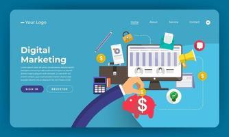 maquete da página de destino do site para marketing digital vetor