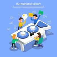 equipe de produção de filmes trabalhando em um brainstorm vetor