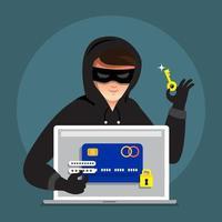 hacker cibernético roubando dados em dispositivo de internet vetor