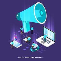 trabalho em equipe de marketing digital isométrico vetor